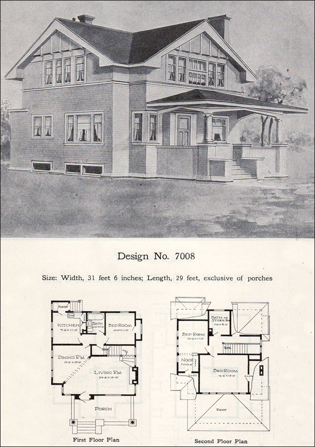 1908 William A Radford Plan No 7008 Two Story Eclectic