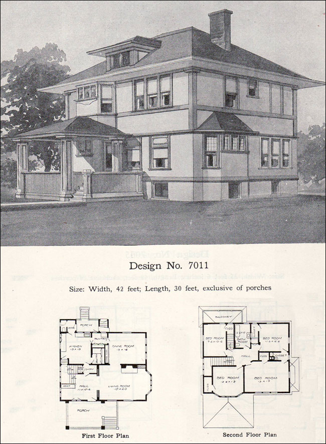 Early prairie style 1908 william a radford plan no 7011 for Prairie school house plans