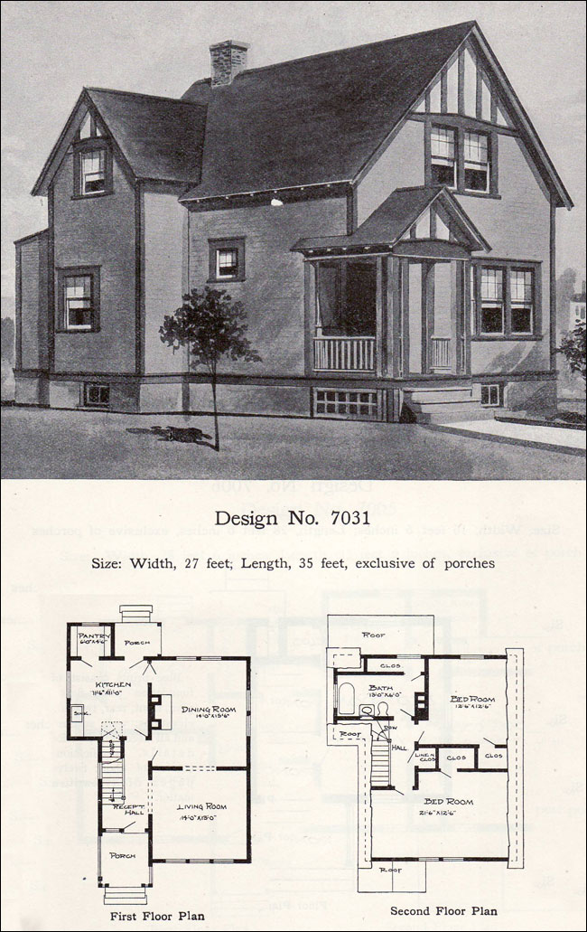 Craftsman and tudor revival details two story 1908 for Tudor revival house plans