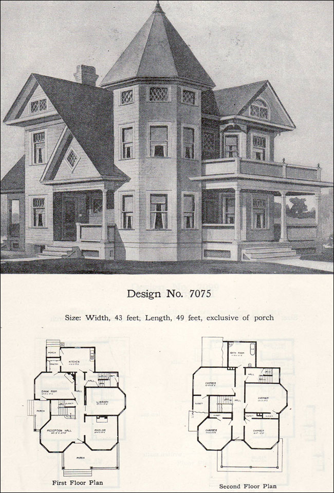 Two story plus queen anne with tower and turret 1908 for Queen anne house plans with turrets