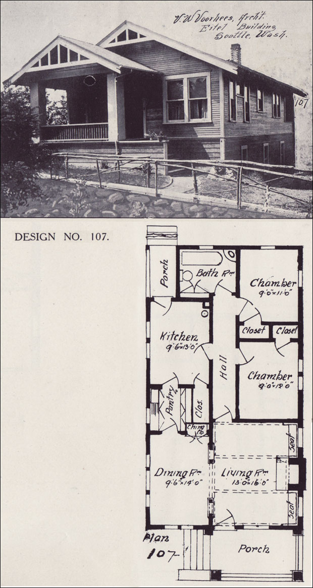 1908 basic bungalow house plan western home builder for Western homes floor plans