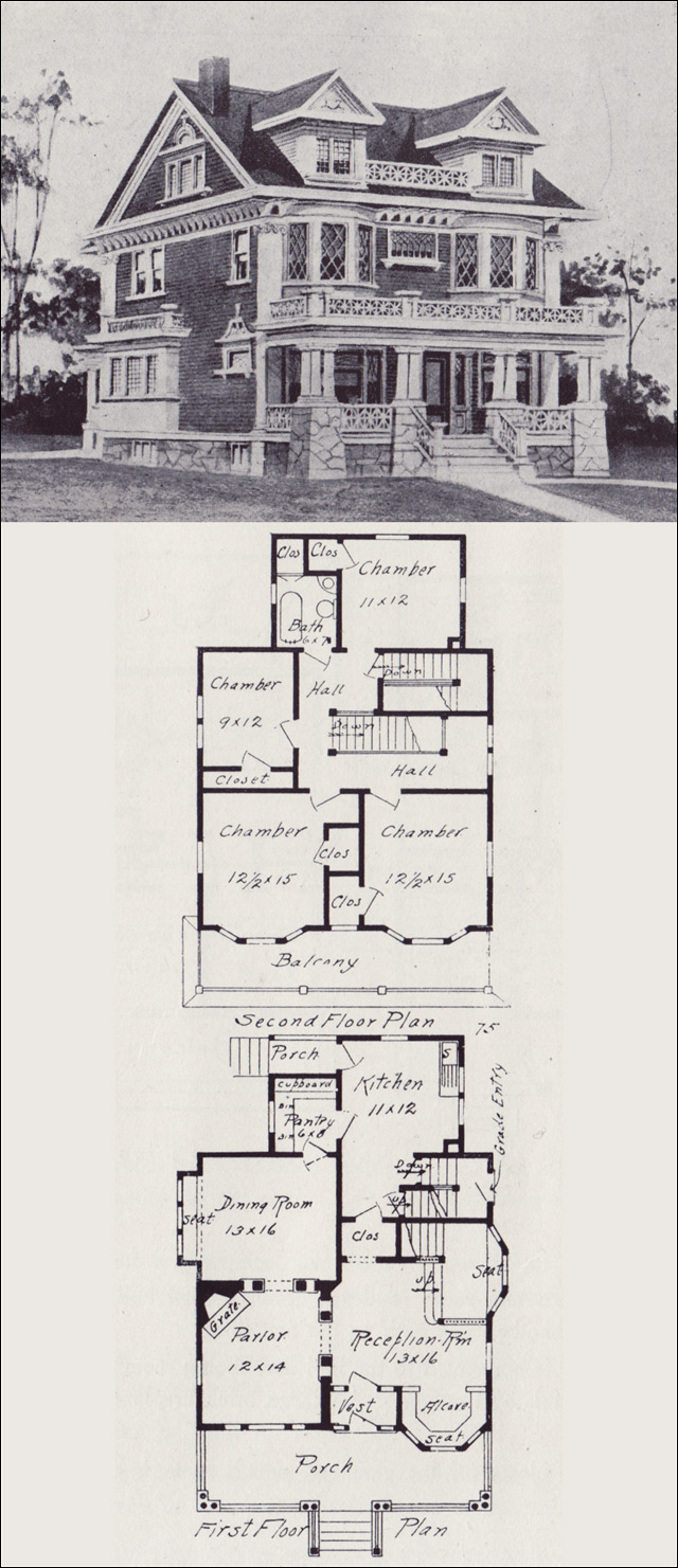 Free home plans vintage floor plans for Old victorian house plans