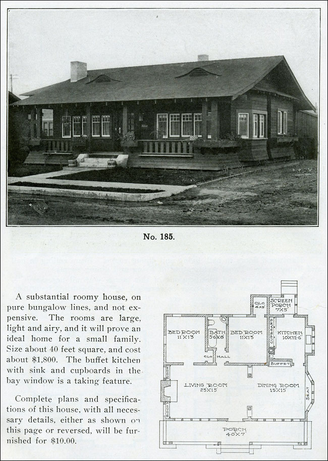 1910 Wilson The Bungalow Man Design No 185 Small One Story Bungalow Craftsman Style