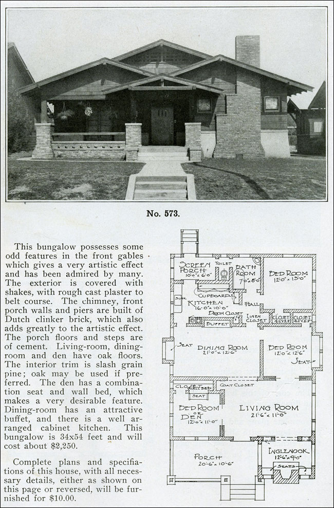 Versatile Bungalow Plan The Bungalow Book 1910 Inglenook