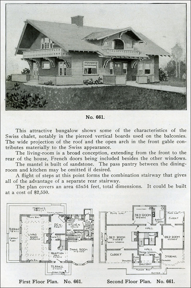 Swiss chalet bungalow two story 1910 wilson bungalow for Chalet bungalow floor plans