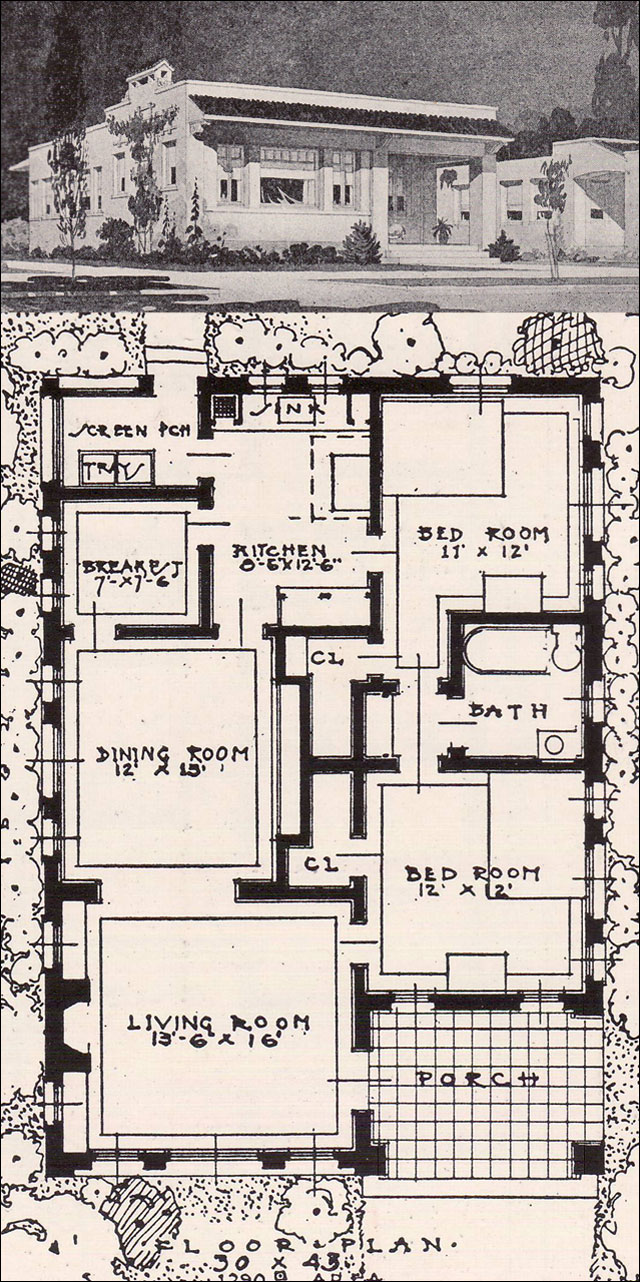 Open plan spanish revival 2 bedroom cottage 1916 ideal Spanish revival home plans