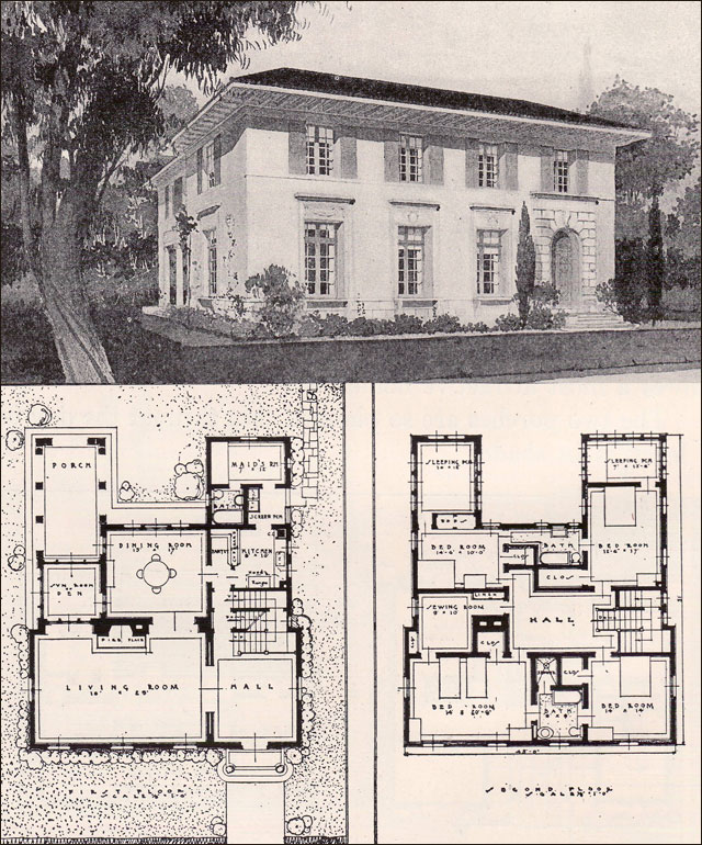 Italian renaisance style house 1916 ideal homes in for New home plans that look old
