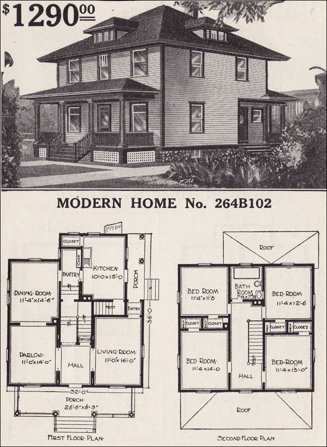 1900 American Foursquare House Plans