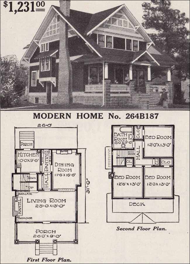 Half Timbered Two Story Craftsman Style Bungalow 1916