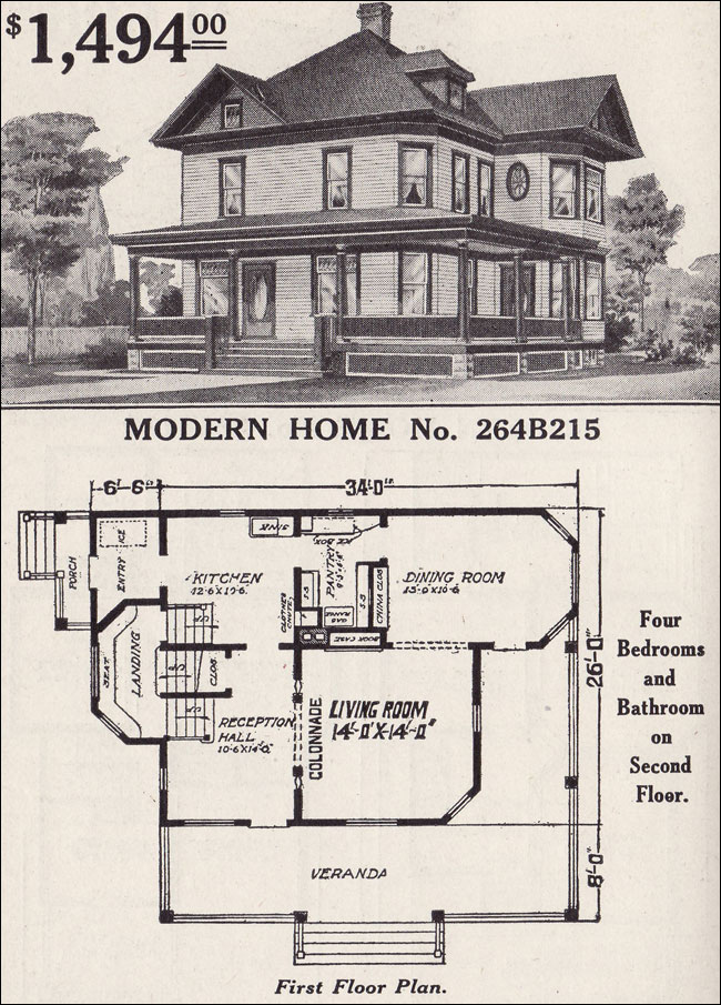 1916 sears modern home no 264b215 late queen anne for Vintage house plans 1900