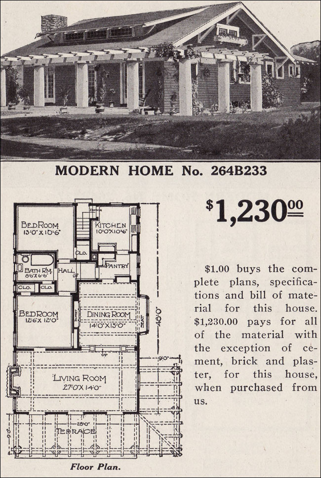 Sears roebuck kit house modern home no 264b233 the savoy for Modern craftsman bungalow house plans
