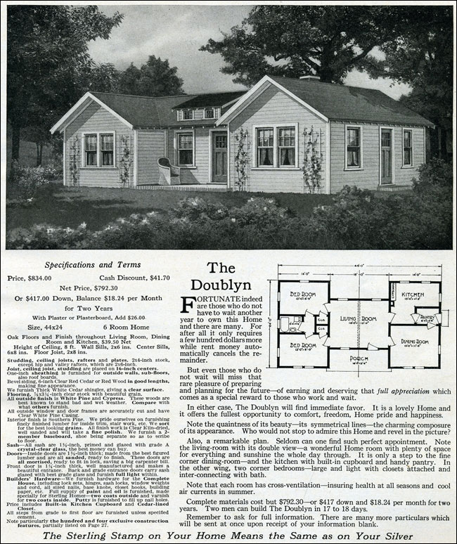 1916 Sterling H Plan Gabled Roof Traditional Cottage