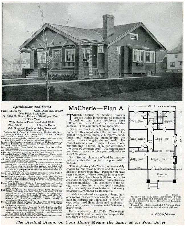 1916 sterling macherie house plans arts crafts for Arts crafts house plans