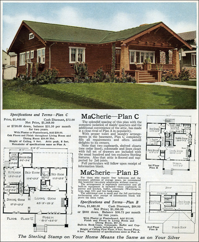 1916 sterling macherie house plans arts crafts for Home plans arts and crafts style