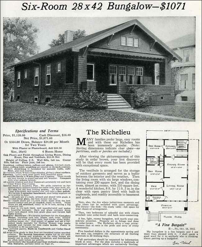 1916 classic small craftsman bungalow sterling homes for Classic bungalow house plans