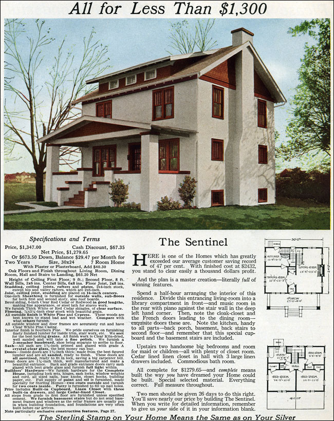 Eclectic 1916 prairie sentinal colonial revival for Reproduction house plans
