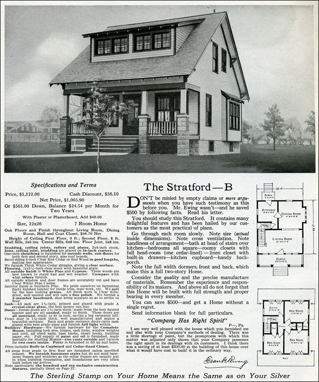 The Stratford 1916 Sterling System Shed Dormer With