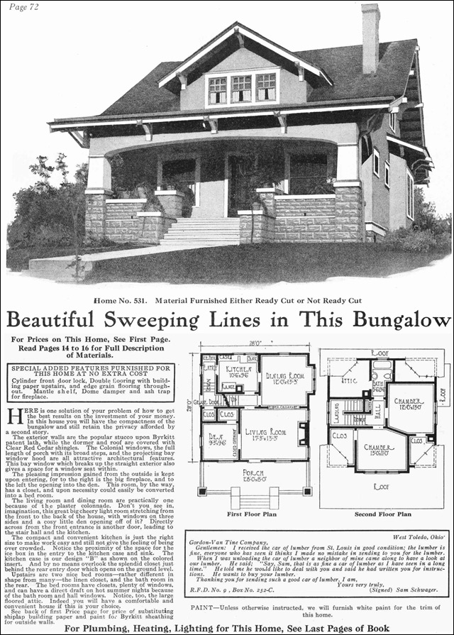 1918 gordon van tine model no 531 classic craftsman Classic bungalow house plans