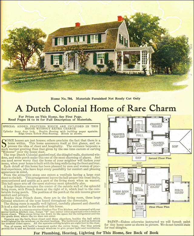 1918 Dutch Colonial Revival Style Gambrel Roof Model