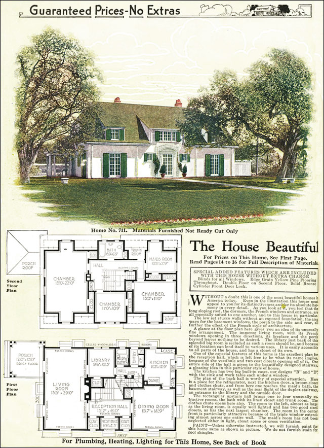1918 french eclectic house gordon van tine model no 711 for Eclectic house plans