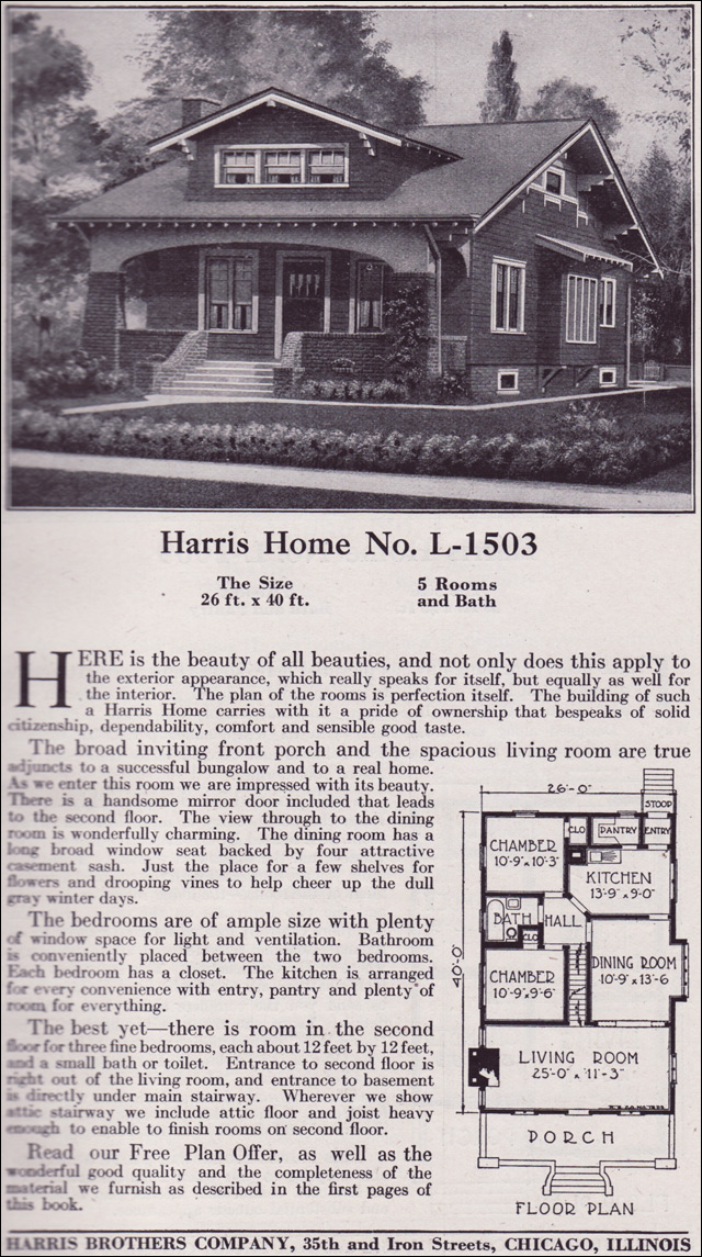 1918 harris bros  co  kit home catalog - plan l-1503
