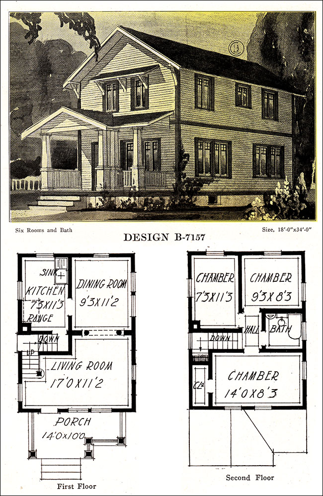 Artistic two story plan with facing gable 1918 modern for Old american homes