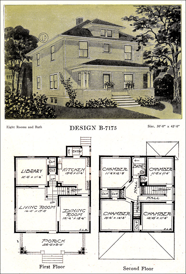 Modern american homes classic foursquare c l bowes 1918 for American classic house plans