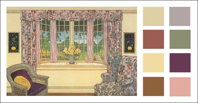 c. 1928 Color Scheme - Living Room with Bay Window