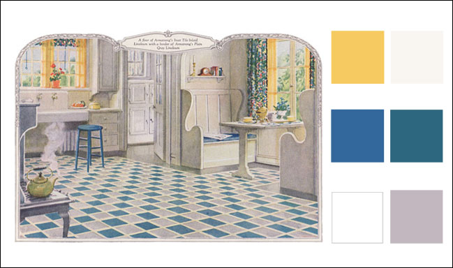 Vintage kitchen colors winda 7 furniture - Yellow and blue kitchen ideas ...