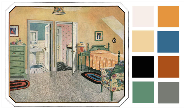 Dainty Attic Bedroom Color Schemes 1925 Blabon Linoleum Color Scheme