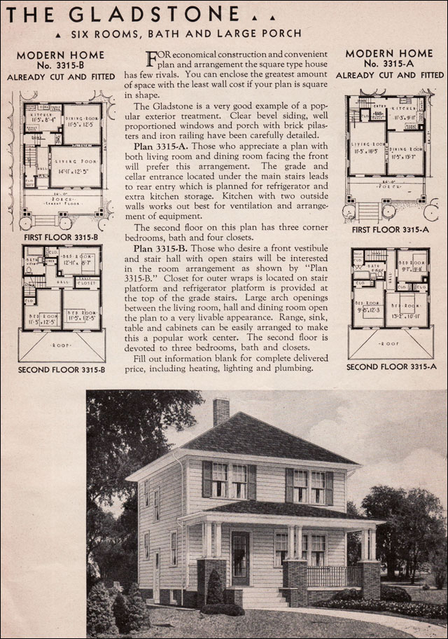 1936 sears kit homes gladstone honor bilt american for Four square home designs