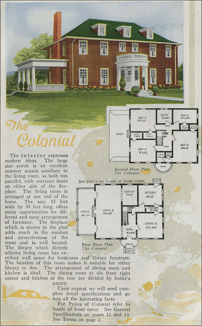 1920 aladdin homes colonial revival half round portico for House plans colonial style homes
