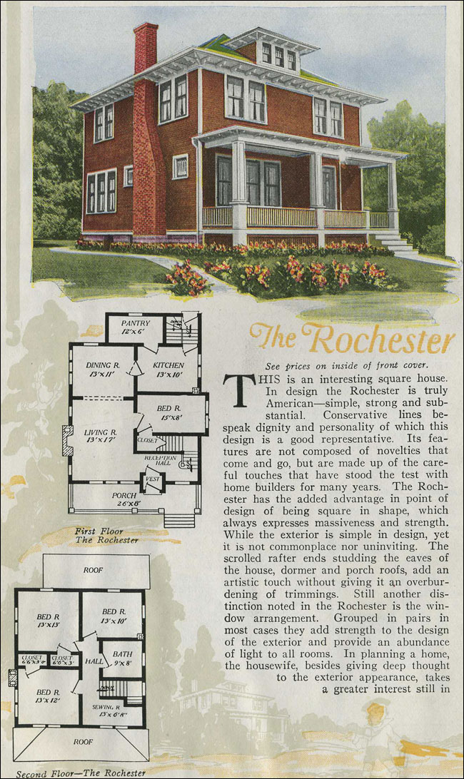 1920 aladdin foursquare kit house the rochester for Four square home designs