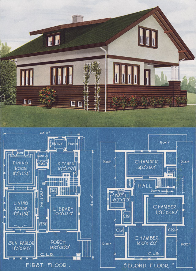 Prairie school bungalow american homes beautiful 1921 for Prairie school house plans