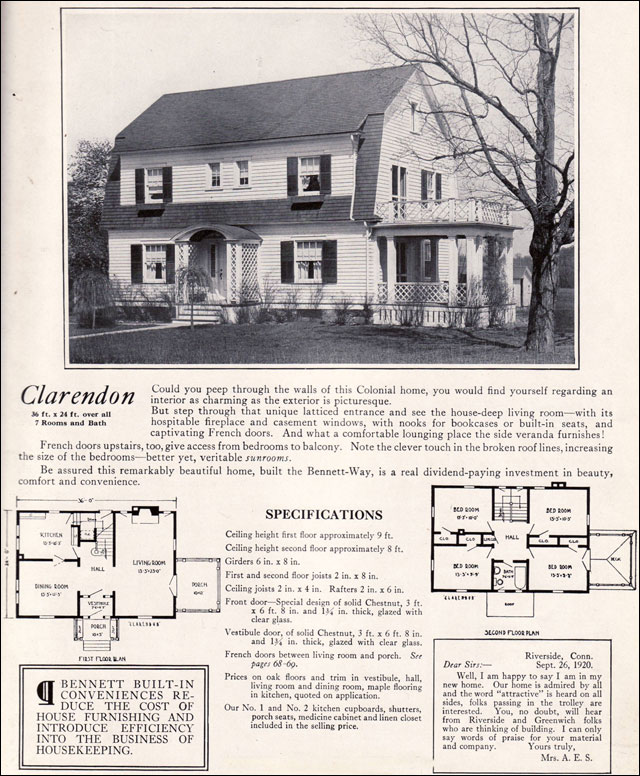 1922 clarendon by bennett homes dutch colonial revival 1920s colonial revival house plans arts