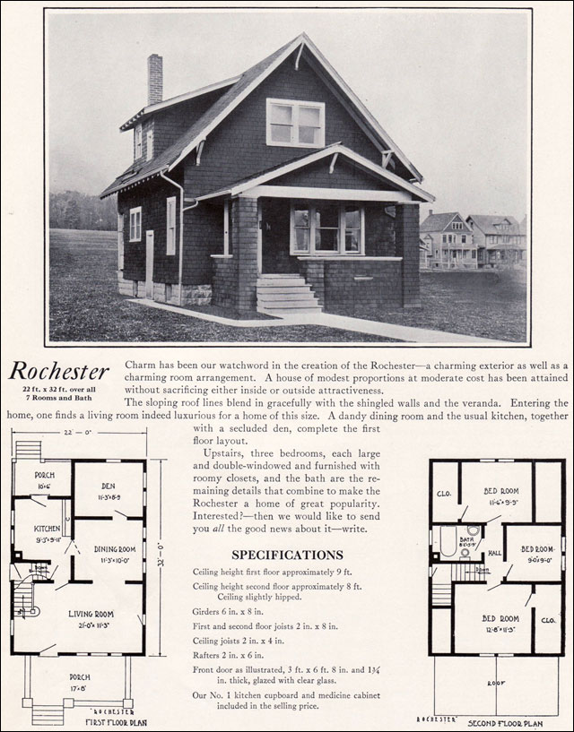 1920s Modern Vernacular Bungalow 1922 Rochester By Bennett Homes Kit Houses