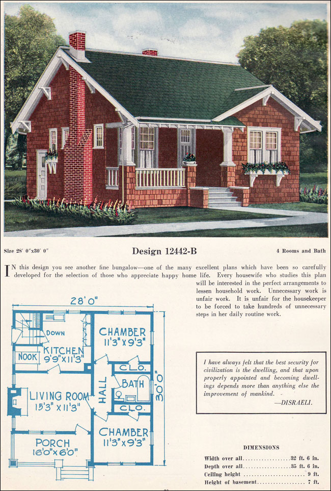 C 1922 bungalow c l bowes shingle cross gable for Home plans for small homes