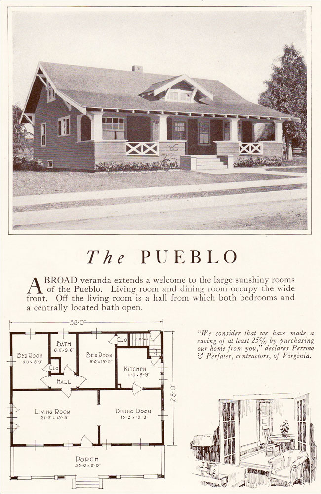 Pueblo 1922 lewis manufacturing bay city side gabled for Pueblo style home plans
