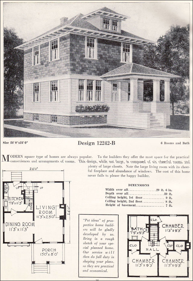 American foursquare pyramidal roof c 1923 c l for Four square home designs