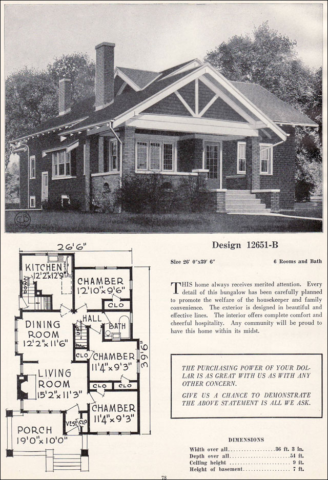 Craftsman style bungalow house plans vintage for 1920s house plans