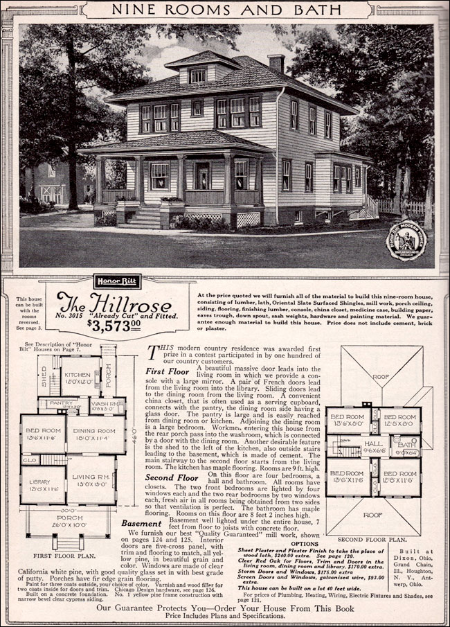 1923 sears modern home kit house hillrose foursquare country house. Black Bedroom Furniture Sets. Home Design Ideas