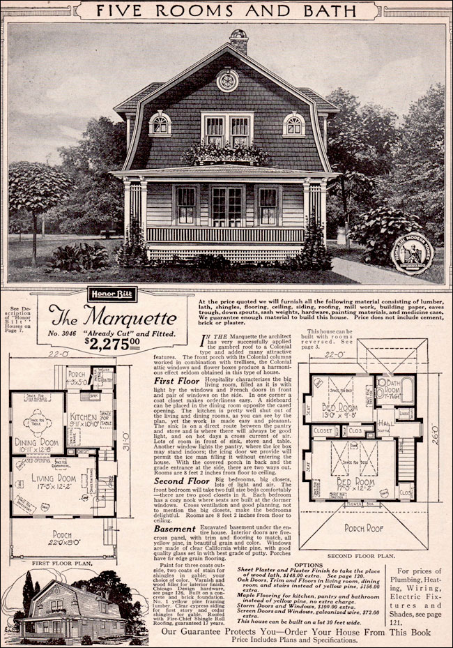 1923 marquette forward facing gambrel gabled roof for American kit homes