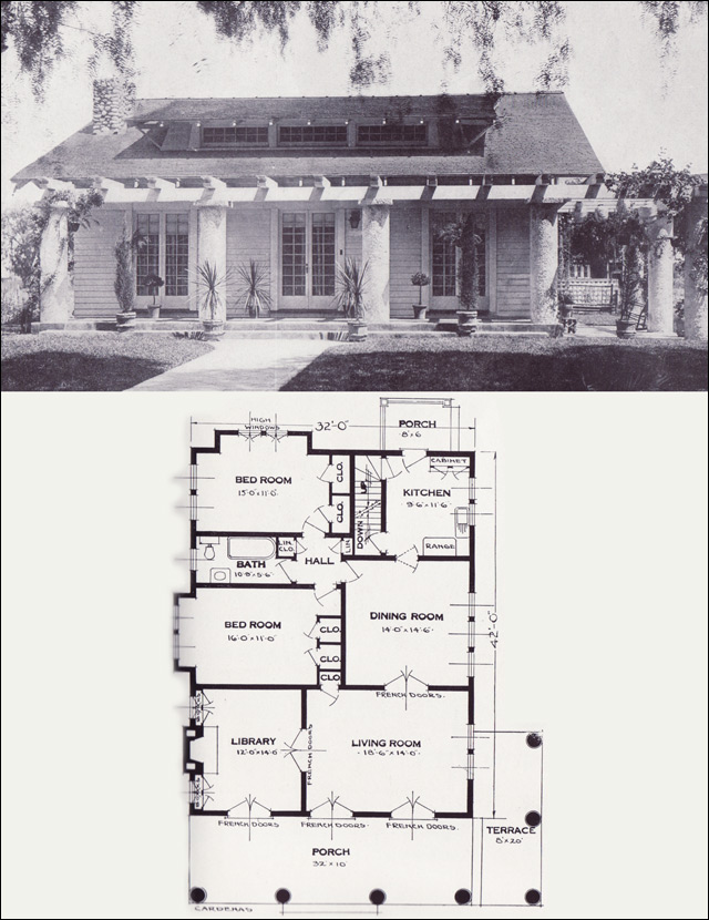 The cardenas 1920s bungalow 1923 craftsman style from for Standard house plans