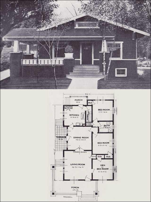 The mandel craftsman style bungalow 1923 standard for Standard house plans