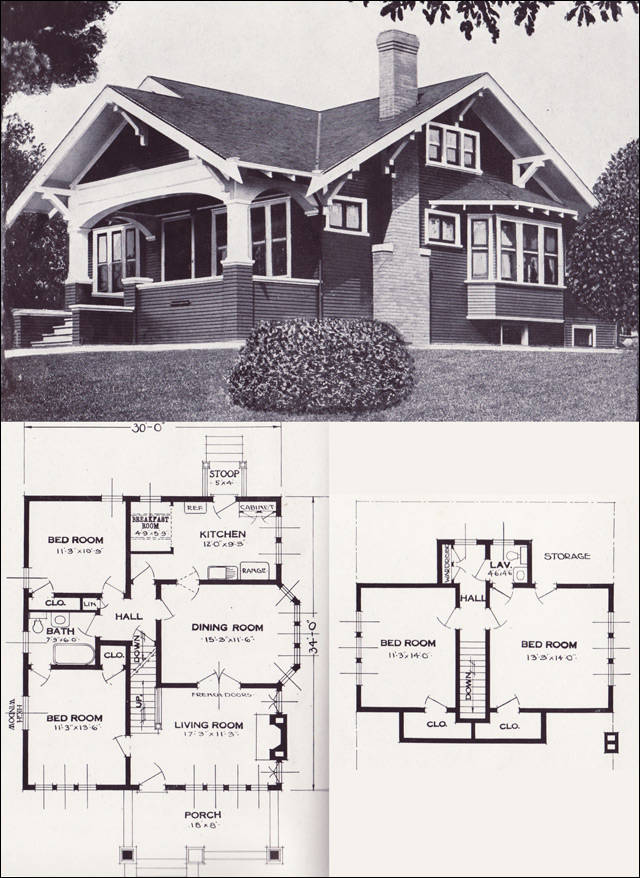 The varina 1920s bungalow 1923 craftsman style from the standard homes company house plans Home layout planner