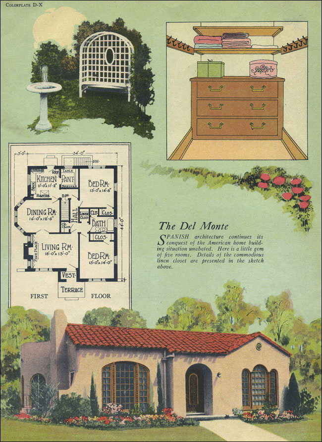 Del monte spanish revival william a radford tile Spanish revival home plans
