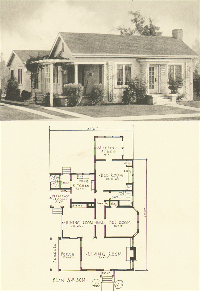 1924 colonial style cottage house plans by the southern for Very small cottage house plans
