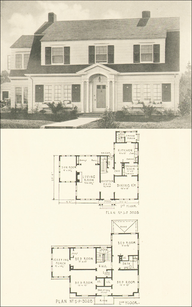 dutch colonial revival 1920s house plan no 3028