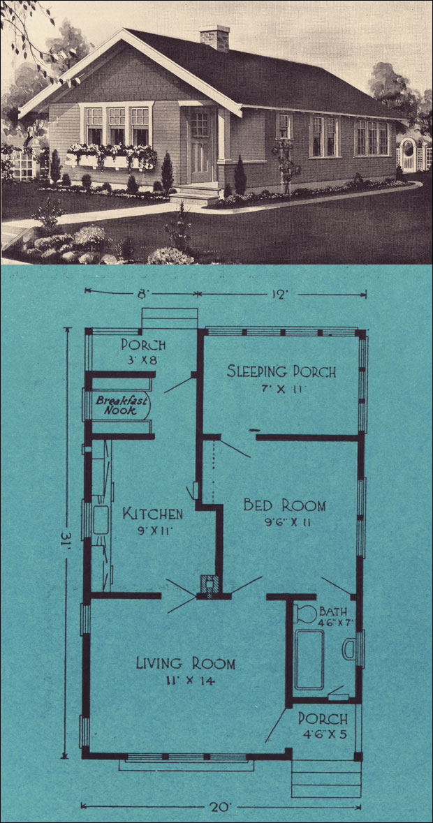 1924 starter home bungalow style cottages of the 1920s for Stetson homes floor plans