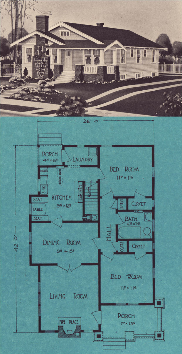 1924 single floor bungalow stetson post seattle house for Seattle house plans
